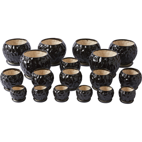 陶器植木鉢18点セット(受皿付) ブラック 台所 日用品 収納 DIY用品 園芸用品 UH08/3DBK-6(代引不可)【送料無料】