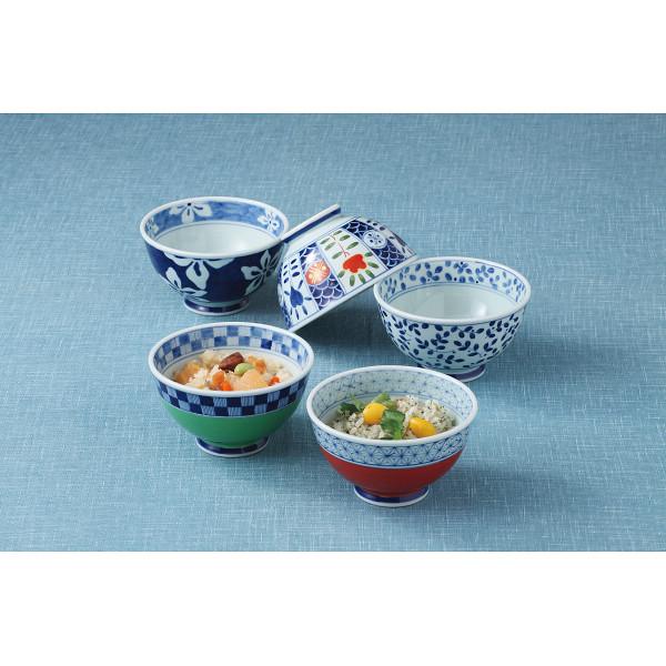 波佐見焼 染錦絵変り 飯碗5客揃 和陶器 和陶茶碗 5客茶碗 52642(代引不可)
