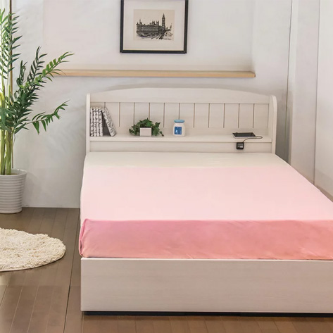 ベッド ダブル 棚 コンセント 引き出し付き カントリー調ベッド 二つ折りボンネルコイルマットレス付(代引不可)【送料無料】