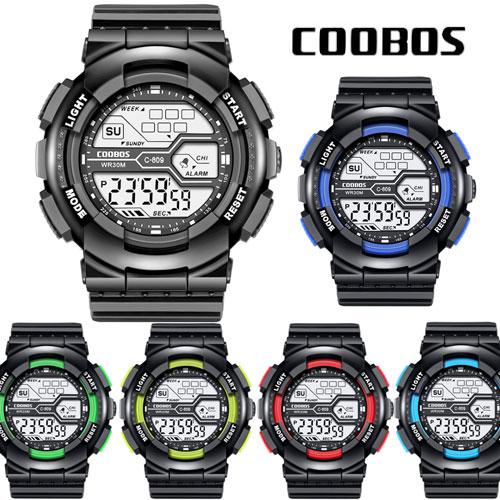 腕時計 スポーツウォッチ COOBOS デジタル ブランド LED ランニングウォッチ 防水 お中元 メンズ ディスプレイ 30M 新品
