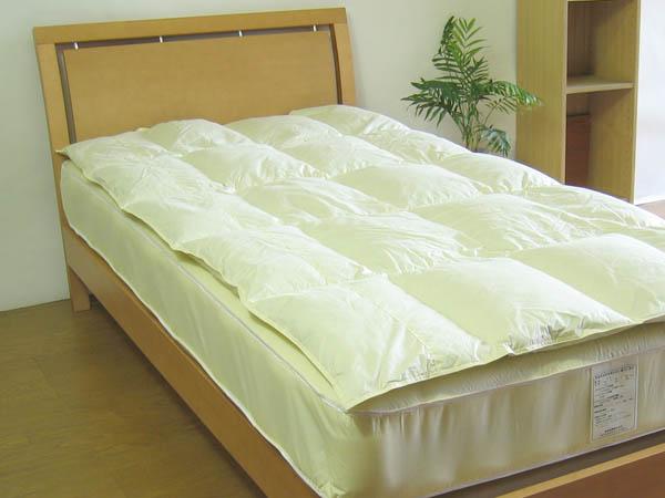 【長期間耐用型】[高密度生地使用]ダウン30%国産ベッドパッド幅:130cmまで×丈:200cmまで
