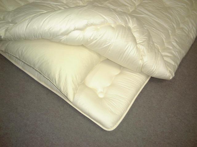 ●和式用(パイプベッドを含む)国産ウール混3点セットウール50%掛けふとん+ウール50%硬綿敷きふとん+羽根枕・シングルサイズダニが入れない高密度生地使用