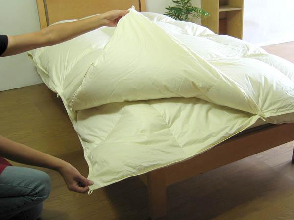 たたみベッド用オールシーズンタイプ超長綿羽毛布団-シングルサイズ-ハンガリー産ホワイトグース別注OK