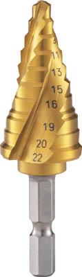 TRUSCO(トラスコ) 六角軸ステップドリル 3枚刃チタンコーティング 5~22mm 【1本】【3SNMS22G】(穴あけ工具/ステップドリル)