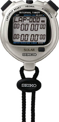 SEIKO ストップウオッチソーラー インターバルメタリック シルバー 【1個】【SVAJ101】(計測機器/ストップウォッチ・タイマー)