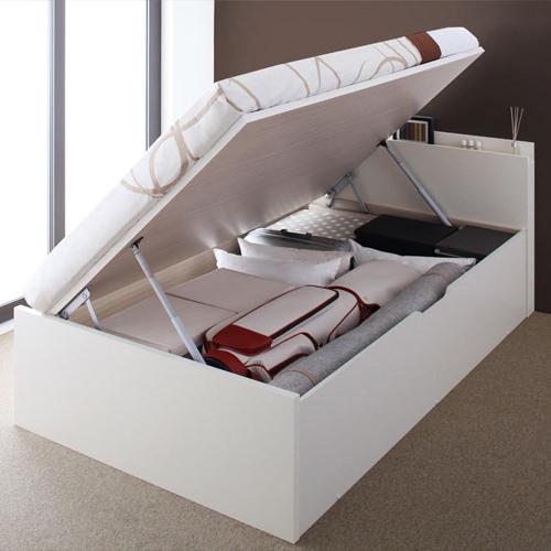 ベッド ベット 収納付き シングル ホワイト 幅:90cm~99cm 奥行き:200cm以上 高さ:80cm~89cm キャスター無し 既成品 カジュアル カントリー ナチュラル ベーシック シングル 木製 ポケットコイル 収納付き コンセント付き 棚付き 設置対応可 組立対応可 要組立品 木 日本