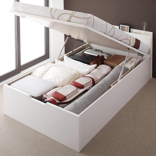 ベッド ベット 収納付き セミダブル ホワイト 幅:120cm~129cm 奥行き:200cm以上 高さ:80cm~89cm キャスター無し 既成品 カジュアル カントリー ナチュラル ベーシック セミダブル 木製 ボンネルコイル 収納付き コンセント付き 棚付き 設置対応可 組立対応可 要組立品