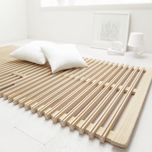 極上の寝心地 桐天然木二つ折りすのこベッド (シングル)