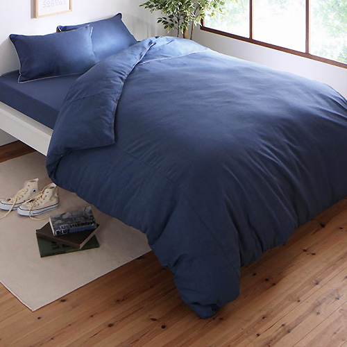 こだわりの風合い 先染めデニム調コットン100%カバーリング ベッドセット