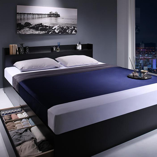 高級感のあるモノトーンカラー 棚・コンセント付収納ベッド (セミダブル)