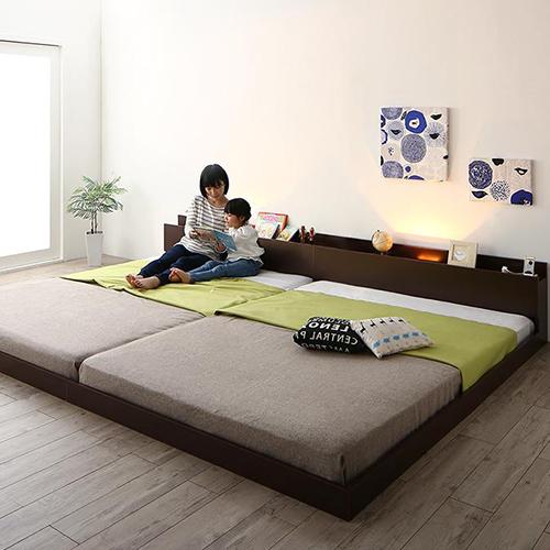 棚・コンセント・ライト付大型モダンフロア連結ベッド (クイーン)