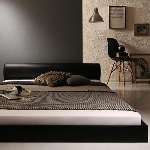 余裕の空間 高級感のあるモダンデザインレザーフロアベッド (ダブル)