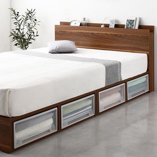 たっぷり収納 シェルフ棚コンセント付ベッド 引き出しなし (セミダブル)