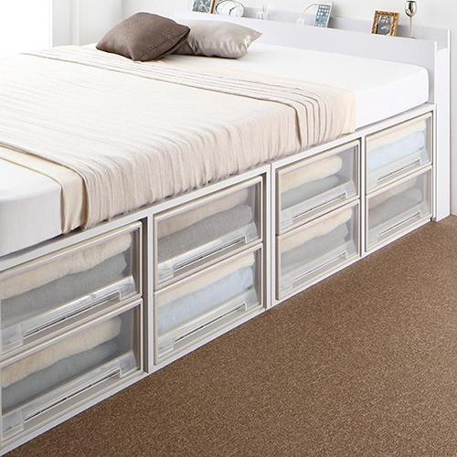 高さが選べる棚コンセント付デザイン収納ベッド 引き出しなし (セミダブル)