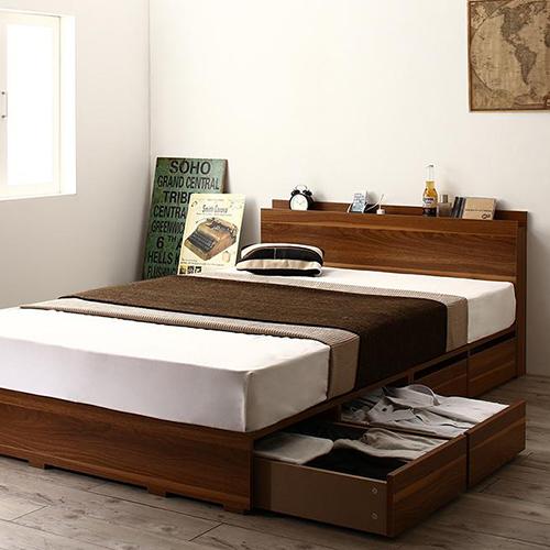 高さが選べる棚コンセント付デザイン収納ベッド 引き出し4杯 (シングル)