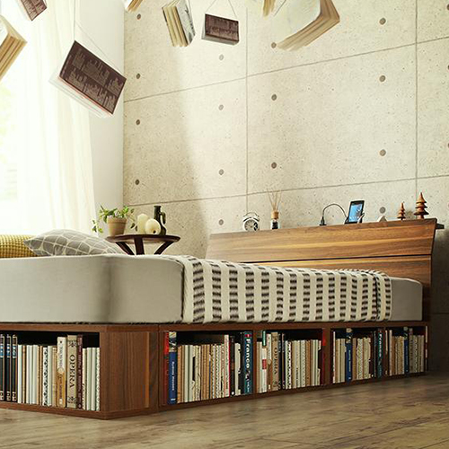 本も衣類も入る コンセント付引き出し本棚収納付ベッド 引き出しなし (シングル)