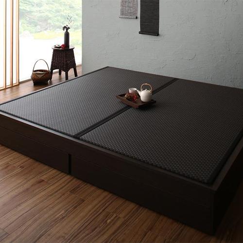 人気ブランド多数対象 和のくつろぎ 選べる畳の和モダンデザイン畳引出収納付ベッド キング 推奨