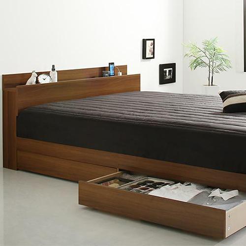 便利なシーツセット 交換無料 棚 セミダブル コンセント付き収納ベッド トラスト