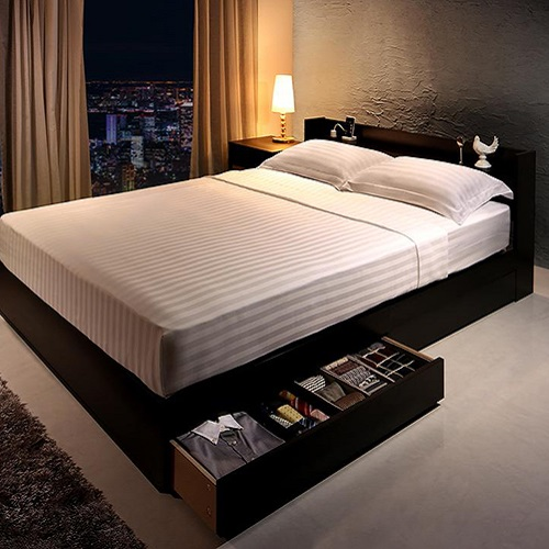 ホテルみたいが実現する 棚 買取 ダブル 新商品 コンセント付本格ホテルライクベッド