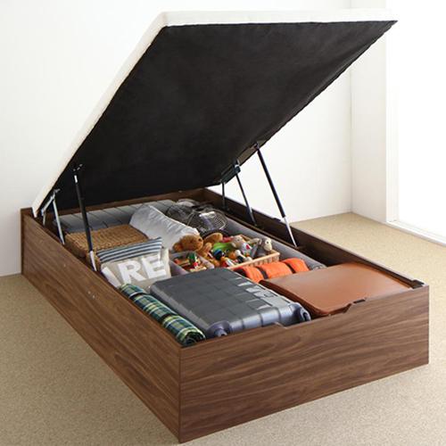押入れ並みの収納力 通気性抜群跳ね上げすのこベッド 縦開き (シングル)