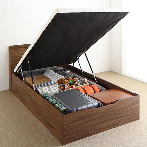 驚きの機能 通気性抜群棚コンセント付 跳ね上げすのこベッド 縦開き (シングル)