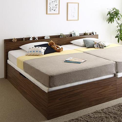 通気性抜群棚コンセント付 跳ね上げすのこベッド 横開き (セミダブル)
