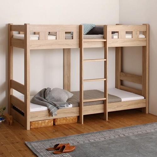 お子さまの寝顔が見られる コンパクトショート丈頑丈2段ベッド (セミシングル)