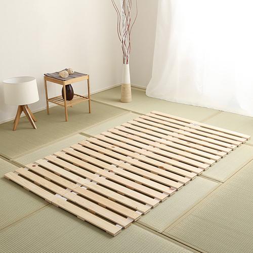 世界に通用する高い品質 檜仕様ロール式すのこベッド (セミダブル)