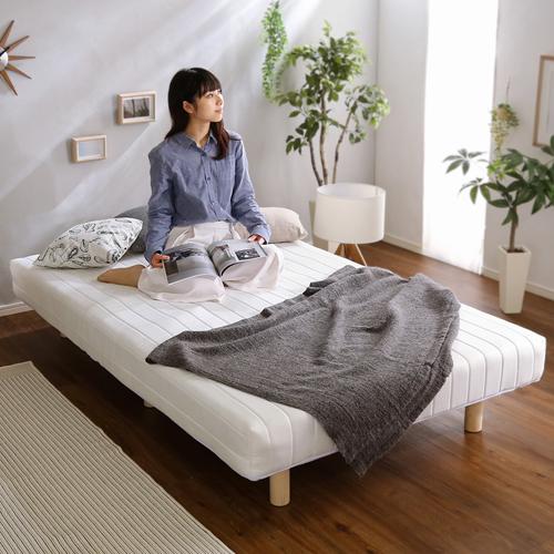 フィット感ある優しい寝心地 脚付きポケットコイルマットレスベッド(シングル)