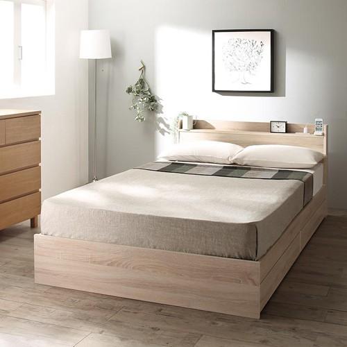 こだわりのお洒落な木目カラー 棚コンセント収納付ベッド (セミダブル)