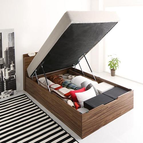 洗練空間 棚コンセント付大容量収納跳ね上げすのこベッド 縦開き (セミシングル)
