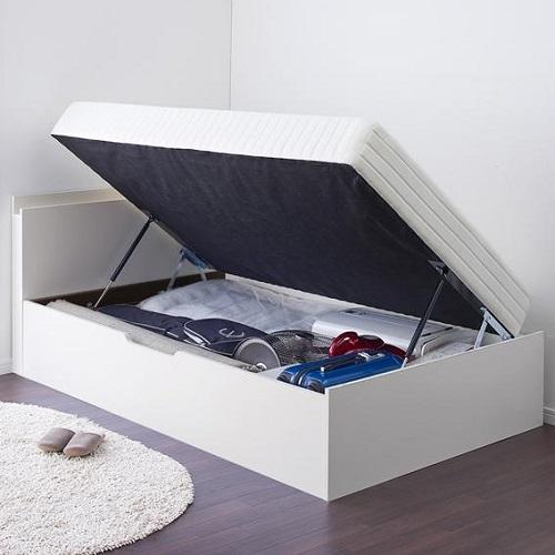 洗練空間 棚コンセント付大容量収納跳ね上げすのこベッド 横開き (セミシングル)