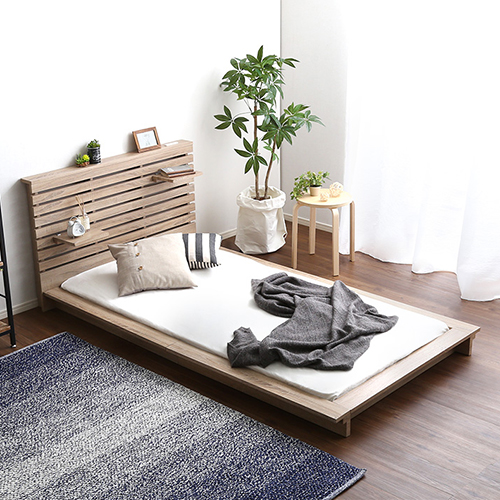 自分だけの快適スペース 送料無料 新品 日本製可動棚付きフロアベッド シングル 激安通販販売