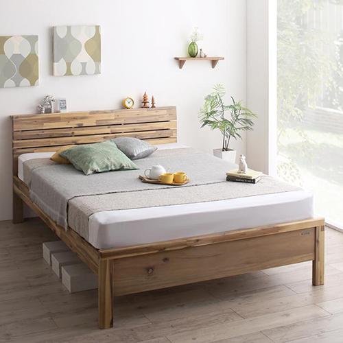 アカシア天然木使用 高さ調節可能・棚・コンセント付デザインベッド (シングル)