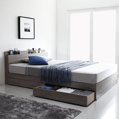 グレー×木目柄が織りなす高級感 棚・コンセント付収納ベッド (シングル)