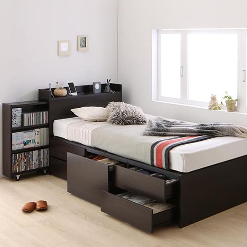 たっぷり収納 タイプが選べる大容量チェスト収納ベッド (セミダブル)