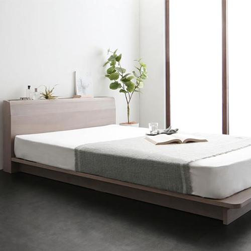 ハイクオリティ 棚・コンセント・LED照明付高級モダン連結ベッド (ダブル)