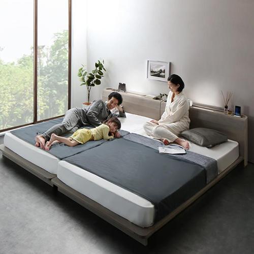 ハイクオリティ 棚・コンセント・LED照明付高級モダン連結ベッド (連結タイプ)