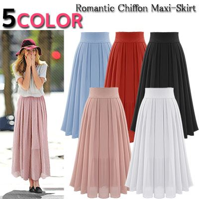 8fad705b7a8 Chiffon flared skirt Maxi-length long-length spring skirt its spring summer  women s ...