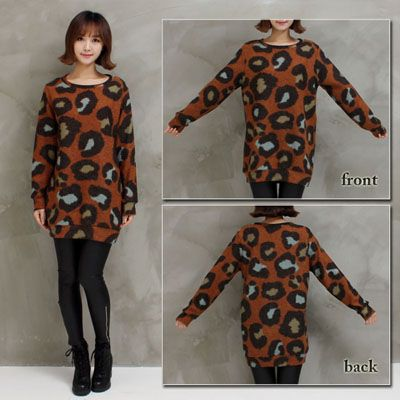 e3867df87d98 ... Knit Leopard pattern nit saw tunic sweater animal pattern winter Womens  ...