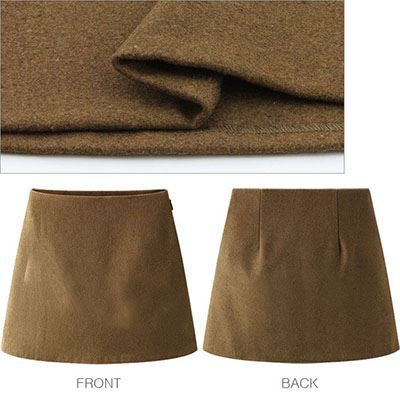Plain thick material lined with A line mini skirt wool pencil Melton autumn/winter women's [M flight 10/10]