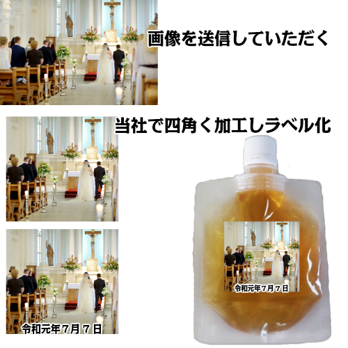 スパウトパック100gx30個 ¥1000/個オリジナル-ラベル作成してお届けりんご畑の生はちみつ入り国産 非加熱 活酵素リンゴ蜂蜜お誕生日の記念品もらって嬉しい結婚式の引き出物数量はご相談に応じます