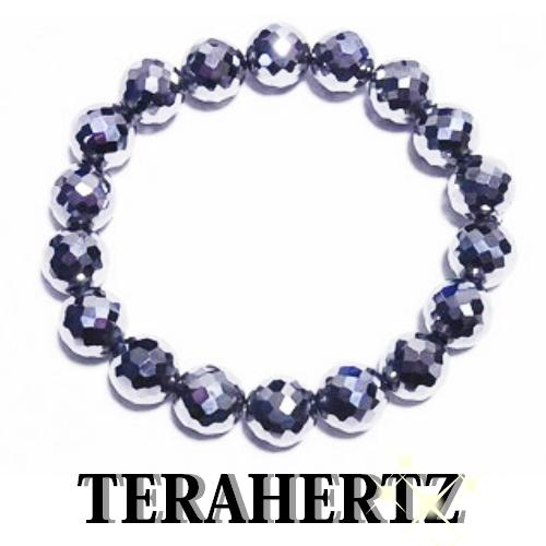 最高級品質テラヘルツ 10mm玉健康ブレスレット【キラキラ128面カット・内周約20cm】【送料無料】公的機関で品質を調べたテラヘルツです。安心をお届けします。