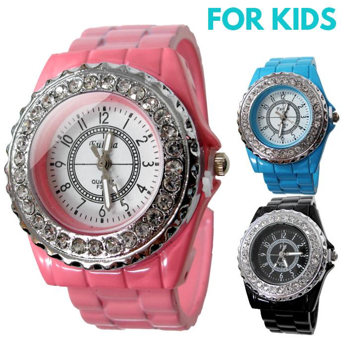 腕時計 子供 ラインストーン 時計 キッズ ウォッチ 女の子 アナログ 【あす楽対応可】