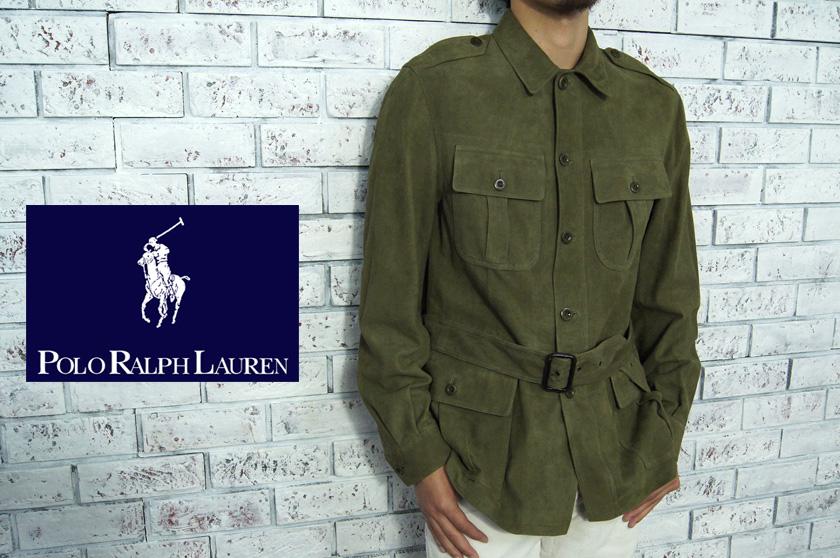 d75c881e5 Ralph Lauren suede nubuck leather M-65 type military jacket /OLIVE
