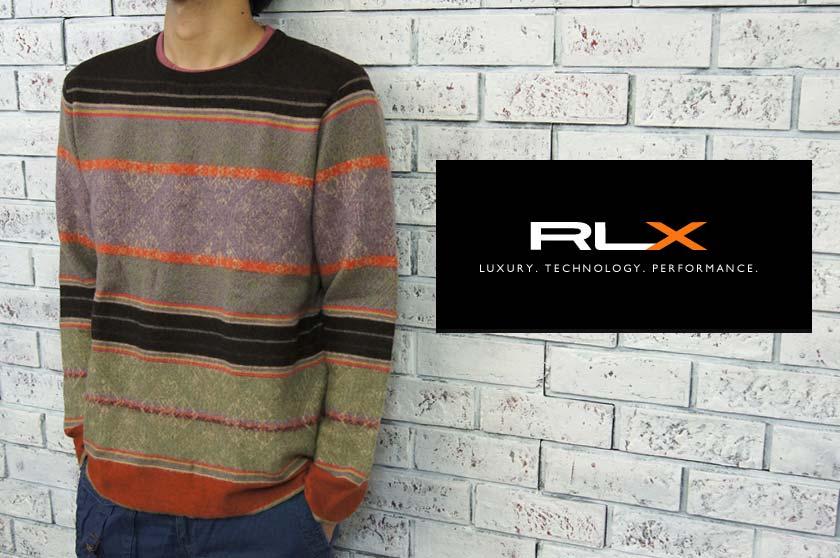 RLX  ラルフローレン RLX ウール×カシミア ボーダー ネイティブ柄 セーター  あす楽