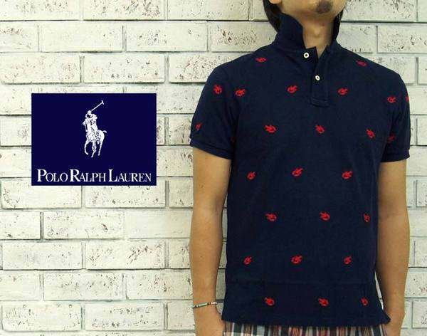 BEEF  Ralph Lauren CUSTOM FIT multi lobster polo shirt  NAVY RED ... c097abc5c