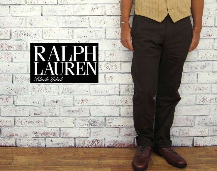 BLACK LABEL by Ralph Lauren  ラルフローレン ブラックレーベル イタリア製 センター プレス パンツ/BROWN  あす楽