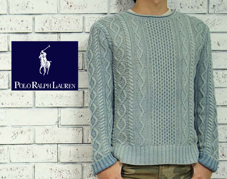 ralph lauren indigo aran knit roll neck sweater - Ralph Lauren Indigo