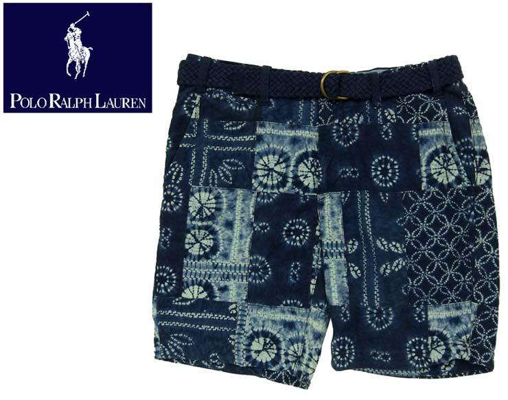 polo by ralph lauren ralph lauren belted indigo indigo dyed patchwork shorts - Ralph Lauren Indigo